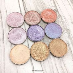 Makeup Geek Eyeshadows in Whimsical, Starry Eyed, In the Spotlight, Pillow Talk, Day Dreamer, Blacklight, Rapunzel, Magic Act and Bleached Blonde. Picture by: @futilitiesmore