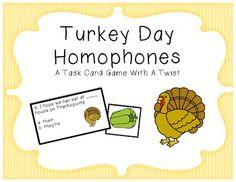 Turkey Day Homophone Task Cards
