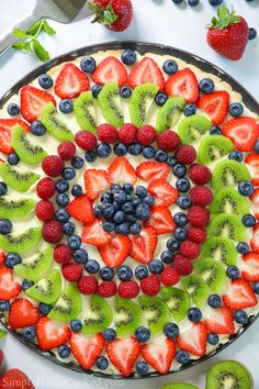 Easy Fruit Pizza Recipe (VIDEO) This post may contain affiliate links. Read my disclosure policy .This EASY fruit pizza is made with a soft sugar cookie crust, cream cheese Fruit Pizza Cups, Fruit Pizza Frosting, Easy Fruit Pizza, Fruit Tarts, Fruit Fruit, Pillsbury Sugar Cookies, Soft Sugar Cookies, Sugar Cookie Dough, Cookie Crust