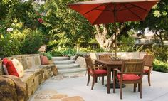 concrete patio landscaping ideas | Stone Seat Wall, Dining PatioConcrete PatioTerry Design IncFullerton ...