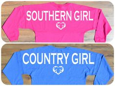 Show your southern pride with these country girl or southern girl spirit jerseys!!! Choose which you would like it to say! Also choose