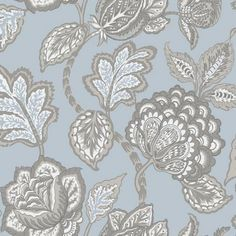 York Wallcoverings Midsummer Jacobean L x W Wallpaper Roll Colour: Spa/Brown Wallpaper Panels, Wallpaper Roll, Peel And Stick Wallpaper, Floral Wall, Floral Fabric, Floral Motif, Stripped Wallpaper, Jacobean, Burke Decor