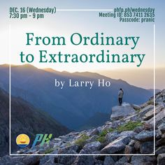 """🌈 WELCOME! PRANIC HEALERS with Non Pranic Healers Enrichment Session, Meditation on Twin Hearts w/ MCKS healing & Master Faith's prayer for ONENESS ⏰ December 16, 2020 Wednesday (7:30 pm - 9:00 pm) 🌞 Enrichment Talk on : From Ordinary to Extraordinary """"The Lost and Found"""" ❤️ by Larry Ho Pranic Healer, Arhatic Yoga Practitioner, Wealth Architect ✅ Join Zoom Meeting: phfp.ph/wednesday Meeting ID: 853 7411 2635 Passcode: pranic For inquiries: 09178527434 pranichealingphilippines@gmail.com"""