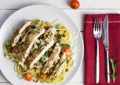 This week on the menu - Succulent Irish Fennel Chicken with Fresh Tomatoes, Toasted Pine Nuts and Pesto Pasta. We've fallen head over heels for this one back at the DropChef HQ! Pesto Pasta, Fennel, Tomatoes, Pine, Irish, Spaghetti, Dishes, Chicken, Breakfast