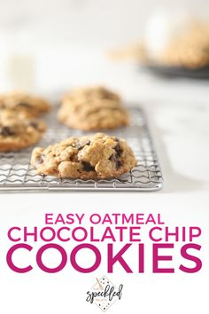 The perfect balance of sweet, salty and chewy, Oatmeal Chocolate Chip Cookies are easy to make and perfect to share (or freeze for later.) Check out this homemade cookie recipe today! #easyentertaining #dessert #speckledpalate