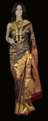 Bridal Kanjeevaram Saree in Plum and Gold