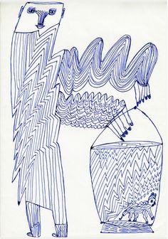 Eine Kugelschreiberzeichnung von Ernst Kolb.