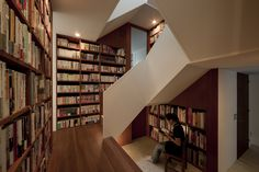 House in Musashiseki by Yasushi Horibe Think On, Japanese House, Tokyo Japan, Exterior Design, Home Office, Small Spaces, Bookcase, Stairs, Shelves