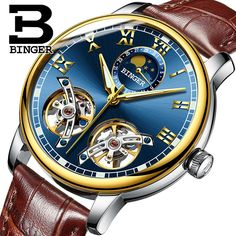 (190.00$)  Watch now - http://aienc.worlditems.win/all/product.php?id=32806306381 - Switzerland BINGER Men Skeleton Automatic Mechanical Watch New Arrival Blue Dial Mens Fashion Casual Leather Watches Waterproof