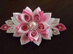 Pink&purple kanzashi flower hair clip by Flowersontop on Etsy Ribbon Art, Diy Ribbon, Ribbon Crafts, Fabric Ribbon, Flower Crafts, Ribbon Bows, Fabric Crafts, Ribbons, Kanzashi Tutorial