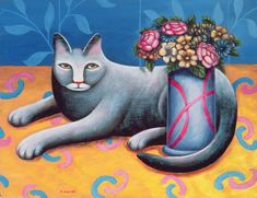 Jerzy Marek Solid-Faced Canvas Print Wall Art Print entitled Sitting Pretty, None Canvas Wall Art, Wall Art Prints, Poster Prints, Big Canvas, Art Pictures, Art Images, Photos, White Cats, Naive Art