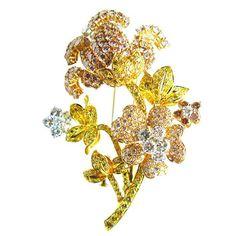 floral colored diamond brooch - Google Search