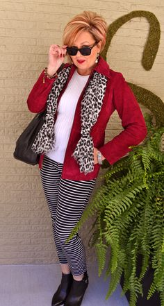 Fashion over 40. Pattern Mixing - Stripes and Leopard