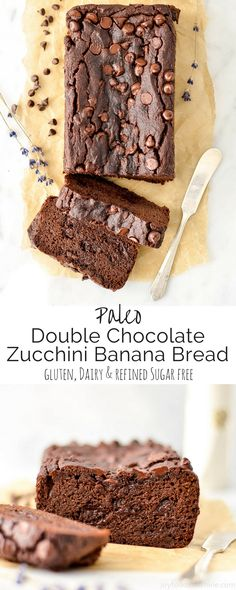 This Paleo Double Chocolate Zucchini Banana Bread Recipe Is An Easy, Healthy and Delicious Way To Eat Your Fruits And Vegetables Using A Blender To Whip Up The Batter Makes The Zucchini Completely Undetectable Gluten-Free, Dairy-Free And Refined Sugar Fre Patisserie Sans Gluten, Dessert Sans Gluten, Paleo Dessert, Healthy Dessert Recipes, Gluten Free Desserts, Real Food Recipes, Heathy Sweets, Diabetic Snacks, Gf Recipes
