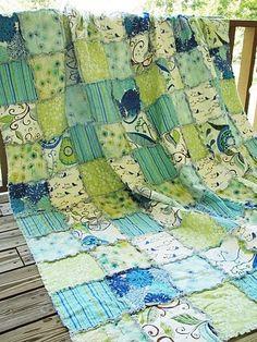 Queen Size Quilt, Rag, Wrenly, blue green, ALL NATURAL, fresh modern handmade