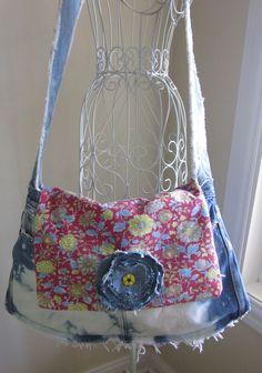 Jean Purse Denim Ragged Gypsy Bag. $40.00, via Etsy.