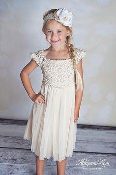 Country chic cream toddler boutique dress crochet lace flower girl birthday 2-6T #TinyFabulousBoutique #DressyEverydayHolidayWedding
