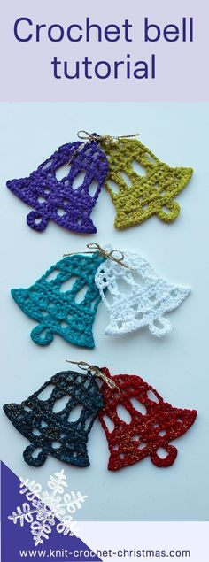 Knitting Patterns Christmas Crochet bell tutorial for Christmas decoration or to use as wedding decoration Crochet Christmas Decorations, Crochet Ornaments, Christmas Crochet Patterns, Holiday Crochet, Crochet Snowflakes, Crochet Gifts, Crochet Decoration, Christmas Knitting, Christmas Bells