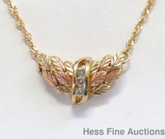 Genuine Diamond Flying Wings Channel Set Black Hills 10k Gold Pendant Necklace #Pendant