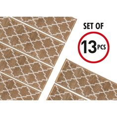 """Shop SUSSEXHOME Trellisville Collection Stair Treads Polypropylene 9""""x28"""" - On Sale - Overstock - 31045220 - Brown - 13-PACK Carpet Stair Treads, Carpet Stairs, Foyers, Stair Slide, Wooden Staircases, Spiral Staircases, Stairways, Bathroom Wall Sconces, Beige Walls"""