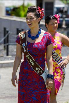 Miss Pacific Islands 2014 - Latafele Auvaa - Samoa Island Wear, Island Outfit, New Dress Pattern, Dress Patterns, African Fashion Dresses, Fashion Outfits, Ball Dresses, Girls Dresses, Polynesian Wedding