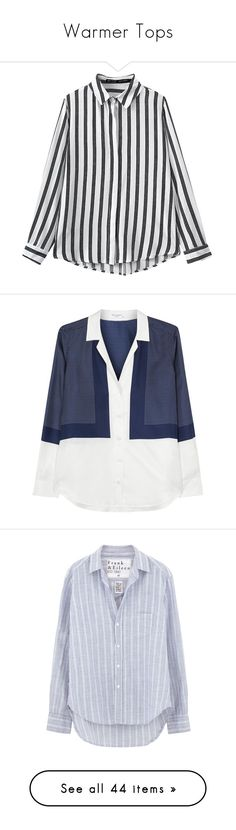 """""""Warmer Tops"""" by thedailywear ❤ liked on Polyvore featuring tops, blouses, shirts, long sleeves, black, striped blouse, striped shirts, stripe cotton shirt, long sleeve cotton shirts and long sleeve cotton tops"""
