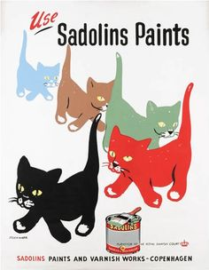 Sandolins Paints vintage advertising poster by Erik Stockmarr (1950)