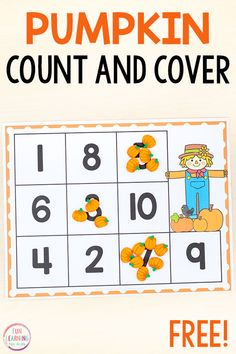 These pumpkin count and cover mats make for a fun pumpkin counting activity. Perfect for your fall theme math centers in preschool and kindergarten. Fall Preschool Activities, Counting Activities, Printable Activities For Kids, Preschool Printables, Preschool Math, Math Math, Math Games, Free Printables, Math Rotations