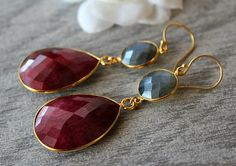 Large Ruby and Flash Labradorite Double Drop Earrings, Blue Gray Dangle, Gold Vermeil, Red Ruby
