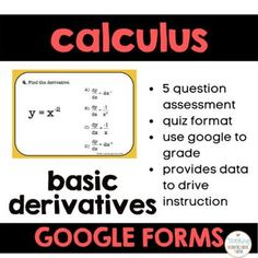 Calculus Google Forms Basic Derivatives Teacher Notes, Calculus, High School, Students, Success, Classroom, This Or That Questions, Math, Google