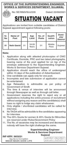 Works And Services Department Jobs 2021 In Sujawal