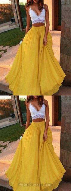 Two Piece Prom Dresses,Long Prom Dresses,Lace Prom Dresses A-line, V-neck Prom Dresses For Teens, Chiffon Prom Dresses with Ruffles #promdresses #dressesforteens
