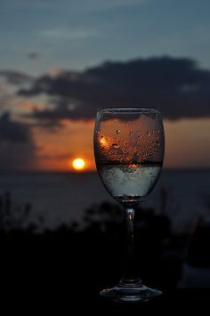 *Enjoying the sunset with a glass of wine.  ( :