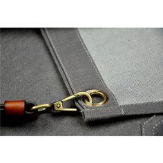 Image of Gray Denim Work Wear Apron with Leather Strap - TrendyGiftIdea Bib Apron, Aprons, Cafe Style, Custom Woodworking, Grey Fabric, Work Wear, Denim, Gray, Leather