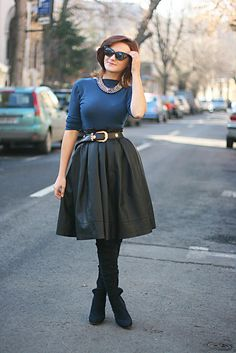 Discover this look wearing Black Pleather Skirts, Black OASAP Sunglasses - style full circle skirt by Chaba styled for Elegant, School in the Winter Circle Skirt Outfits, Full Skirt Outfit, Full Circle Skirts, Full Skirts, Modest Skirts, Vintage Inspired Fashion, Retro Fashion, Love Fashion, Trendy Fashion