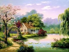 Sung Kim Arbor Cottage painting for sale - Sung Kim Arbor Cottage is handmade art reproduction; You can shop Sung Kim Arbor Cottage painting on canvas or frame. Thomas Kinkade, Belle Image Nature, Cottage Art, Forest Cottage, Forest House, Beautiful Paintings, Beautiful Scenery, Diy Painting, Home Art