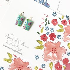 Hand Painted Earrings - Flower Earrings  - Mother's Day - Preppy Earrings - Floral Earrings - Jewelry - Earrings - Fashion Gift - Handmade by bbriggsillustration on Etsy