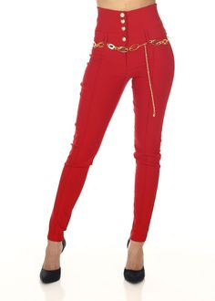 Fashion High Waist Pants- Red Highwaisted pants- High Rise Dress Pants