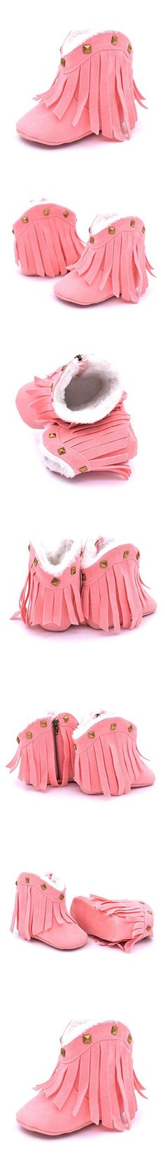 Gotd Toddler Baby Girl Tassel Rivet Snow Boots Winter Warm Shoes (S: 0~6 Months, Pink)