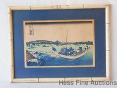 1835 Katsushika Hokusai Japanese Ukiyo e Woodblock Sunset across Ryogoku Bridge