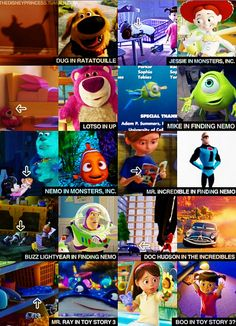 On the bottom, Mr. Ray from nemo in toy story 3 and Boo from monsters inc. in toy story 3!!! MIND BLOWN!!!