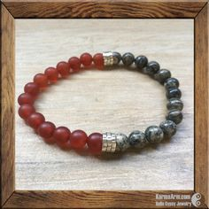 KEEP CALM Mala: Spiderweb Jasper + Red Agate