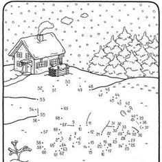 Coloriage points à relier : Quel est ce gros animal dans la neige ?