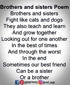 Tag-mention-share with your Brother and Sister Little Sister Photography, Best Friend Photography, Brother Poems, Brother Quotes, Missing You Brother, Your Brother, Life Happens Quotes, Brother And Sister Relationship, Ill Always Love You