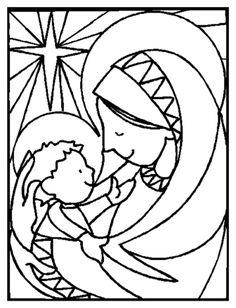 Resultado de imagem para imagens de maria com jesus para colorir