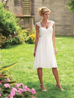 The Dress-  Short Cap Sleeves Tea Length Chiffon Informal Simple Wedding Dress W1487