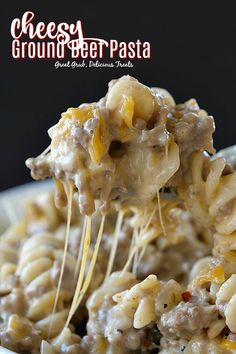 Cheesy Ground Beef Pasta is loaded with cheese, deliciously seasoned ground beef and is an easy dinner recipe. Cheesy Ground Beef Pasta is loaded with cheese, deliciously seasoned ground beef and is an easy dinner recipe. Ground Beef Pasta, Ground Beef And Potatoes, Recipes With Noodles And Ground Beef, Ground Beef Noodle Casserole, Egg Noodle Casserole, Burrito Casserole, Ground Beef Dishes, Ground Beef Recipes For Dinner, Dinner With Ground Beef