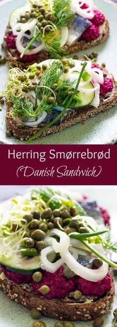 HERRING SMORREBROD (DANISH SANDWICH) What a lovely selection of sandwiches, so colourful, a real feast for the eyes. They all look so healthy and delicious! Lunch Recipes, Seafood Recipes, Healthy Dinner Recipes, Appetizer Recipes, Cooking Recipes, Appetizers, Danish Cuisine, Danish Food, Brunch