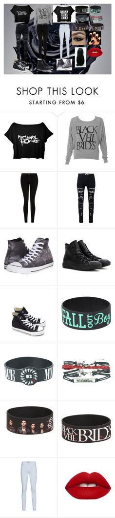"""Randomness 5"" by andy-244biersack ❤ liked on Polyvore featuring Lancôme, Current/Elliott, Converse, 7 For All Mankind, Lime Crime, beautiful, emo, Punk and rock"