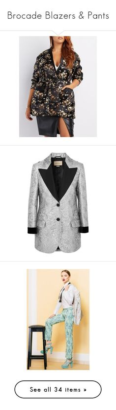 """""""Brocade Blazers & Pants"""" by beautymanifesting ❤ liked on Polyvore featuring plus size women's fashion, plus size clothing, plus size outerwear, plus size jackets, plus size blazers, black, blazer jacket, satin jacket, satin shawl and plus size shawl"""